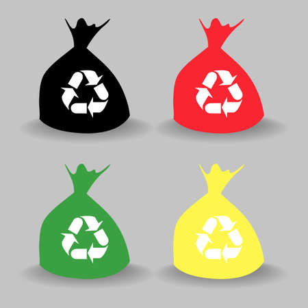 hazardous waste: Different Colored bag bins icon with soft shadow - Vector EPS10