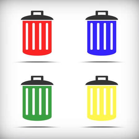segregate: Different Colored Trash bins icon - Vector