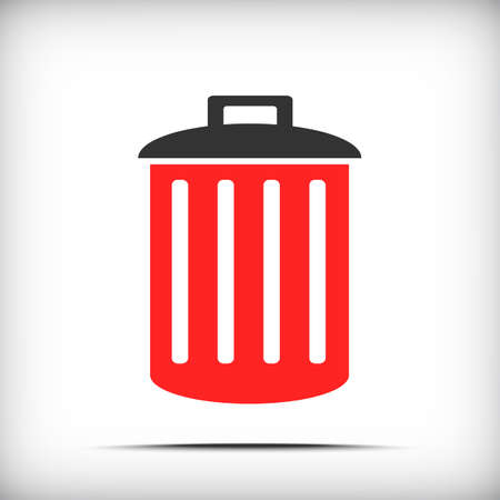 hazardous waste: Trash icon with soft shadow - Vector EPS10