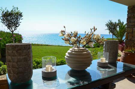 quietude: Quietude of life with charming decoration facing the Mediterranean sea in Greece.
