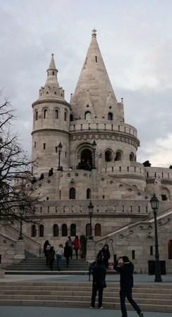 halaszbastya: Main tower of Fisherman`s bastion on Buda castle hill in Budapest, Hungary