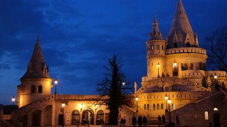 Night scene of Fisherman`s bastion main tower in Budapest