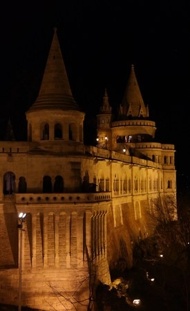 halaszbastya: Lighted Fisherman`s bastion in Budapest at night Editorial