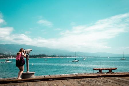 starring: Photo of Girl starring at the sea at California Coast