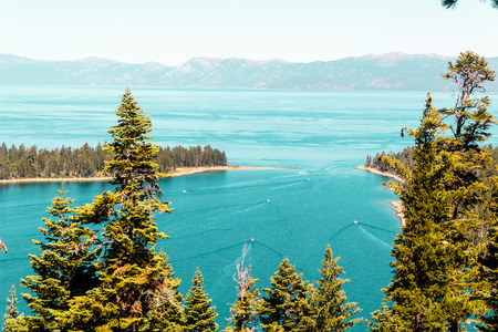 south lake tahoe: Photo of Emerald Bay and Lake Tahoe Stock Photo