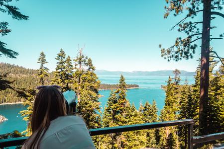 south lake tahoe: Photo of Girl at Emerald Bay Vista Point, Lake Tahoe