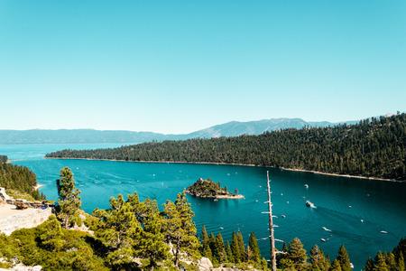 south lake tahoe: Photo of Emerald Bay and Lake Tahoe Stock Photo