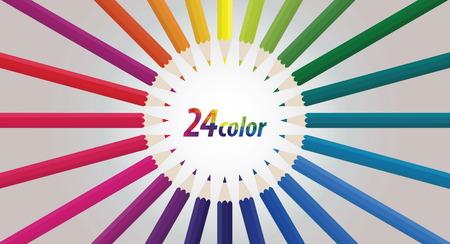 crayon: icon crayon 24 colors Illustration