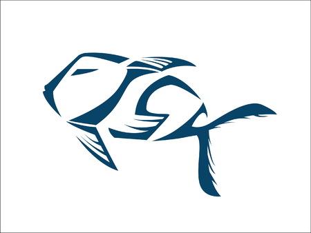 fish icon typography Ilustração