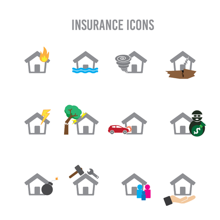 storm damage: Insurance Home Icons Illustration