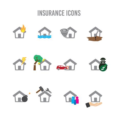 storm damage: Insurance Home Icons Illustration