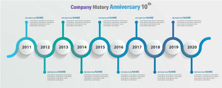 timeline company history anniversary 10 year blue wave color circle