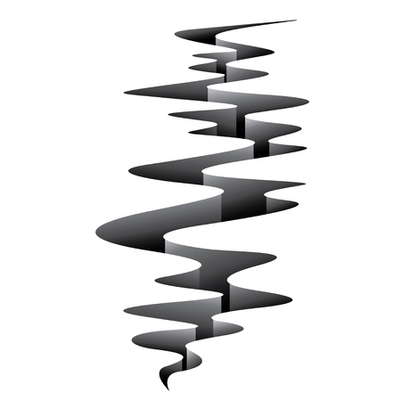 Earthquake crack wave curve white background 向量圖像