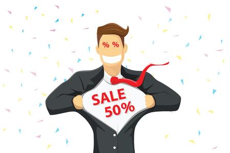 power: A business man tearing shirt show sale discount.
