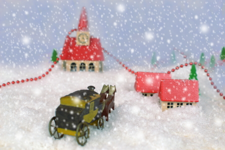 old wooden toys with snowy landscape Stock Photo