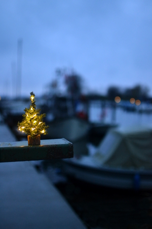a little christmas tree on a port with boats