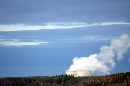 A nuclear power station in a forest Stock Photo