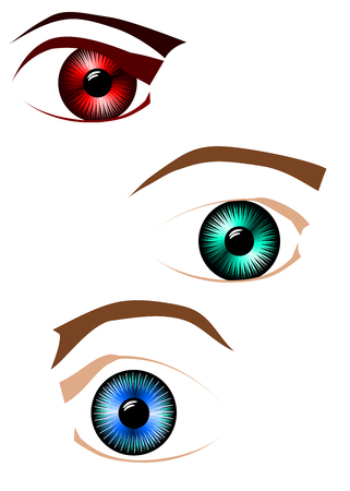 Set of green, blue and red eyes with brows and lids. Vector. Illustration