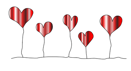 Five red cute hearts with metallic surface are standing on stalks. Vector.