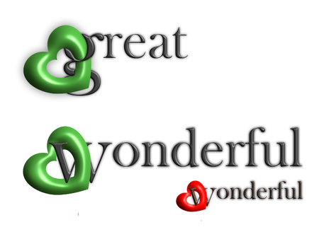 Great and wonderful. These words and linked hearts. Vector.