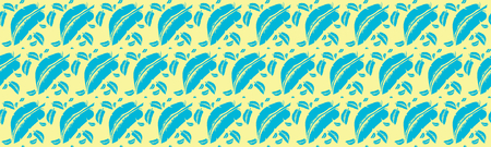A wide wallpaper with blue fears and yellow background. A seamless vector pattern.