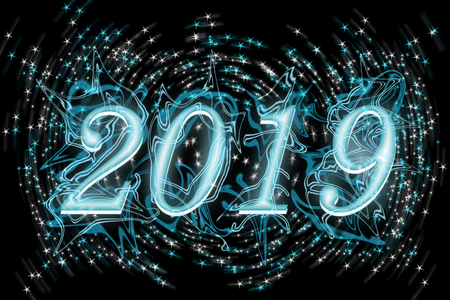 The number 2019. Blue letters on a black background with blue and white stars. Stok Fotoğraf