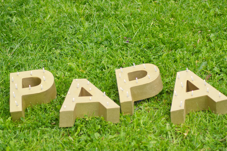 The word PAPA spelt out with large golden block letters. Shot horizontally against a green meadow. Reklamní fotografie