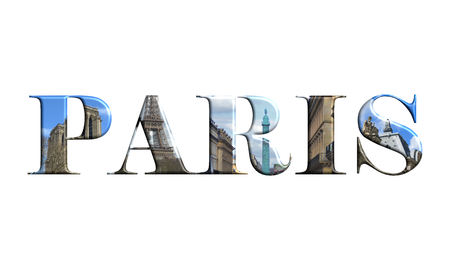 Paris letters with monuments isolated on white background Stock Photo