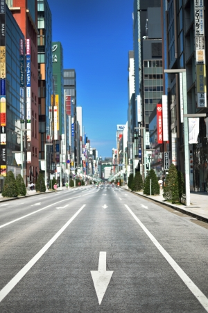 Empty Road of Business Area in Ginza, Japan