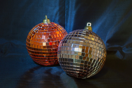 glitzy: Glittering Christmas balls against a black background