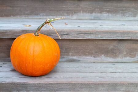 a bright orange pumpkin with a green stem sitting on wooden stairs of a porch