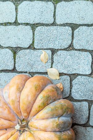 a fragment of a big orange pumpkin on the grey stone surface