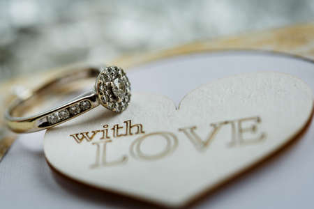 Diamond engagement ring. Beautiful engagement symbol. Stok Fotoğraf