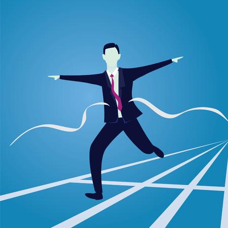 Businessman Crossing Finish Line Illustration