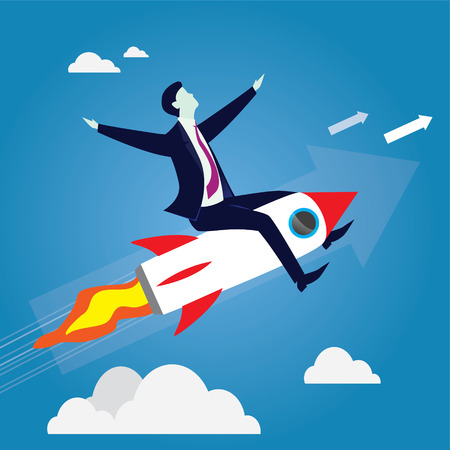 Businessman Flying High Riding a Rocket