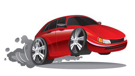 shiny car: Vector illustration of fast moving red sport car in cartoon style