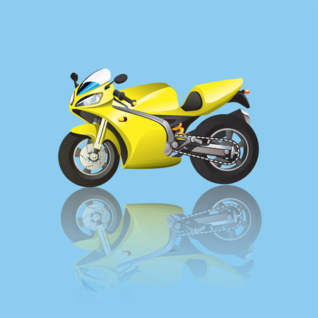 Yellow Superbike Cartoon