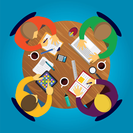 pc: Vector illustration. Top view business team work concept. Working desk from above view with businessmen meeting, working and discuss strategy of their business. Symbol of process, planning, goals, team work, future, success