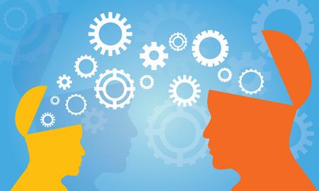 Illustration vectorielle Concept de transfert de connaissances. Silhouette de deux têtes d'homme et femme partageant des connaissances, idée, symbole de vitesse, technologie, avenir sur fond bleu