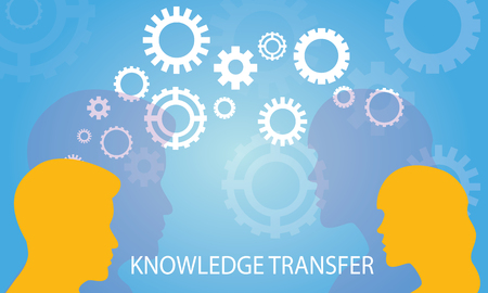 Vector illustration. Knowledge Transfer Concept. Two head silhouette of man and woman sharing knowledge, idea, gear symbol, technology, future over blue background