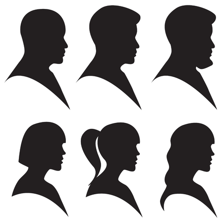 vector illustration head silhouette of man and woman in black