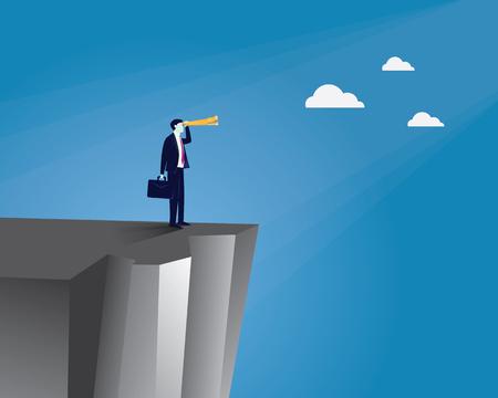 Ilustración vectorial Concepto de visión empresarial. Hombre de negocios que sostiene y que mira el telescopio del canal que mira adelante mientras que se coloca al borde de un acantilado. Futuro, desarrollo de la dirección, objetivo, éxito