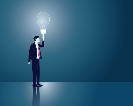 lighten: Vector illustration. Business idea concept. Businessman holding idea light bulb to lighten his way in darkness. Future, vision, direction development, goal, success Illustration