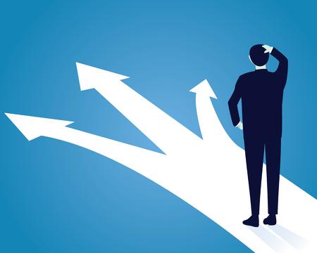 Vector illustratie. Zakelijk, beslissing, concept. Zakenman verwarren om de juiste richting te kiezen. Toekomst, richting ontwikkeling, doel, succes