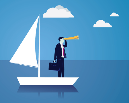 Vector illustration. Business vision concept. Businessman holding and looking trough telescope looking forward while standing on his sailboat. Future, direction development, goal, success