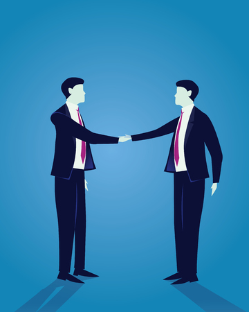 Vector illustration. Successful agreement business concept. Two businessmen shake their hands as success agreement deal