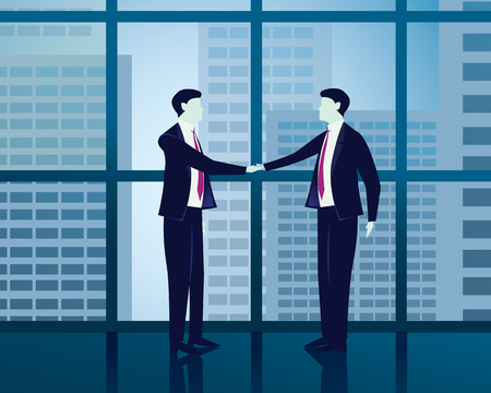Vector illustration. Successful agreement business concept. Two businessmen shake their hands as success agreement deal in front of huge windows at office with skyscraper sky building view outside