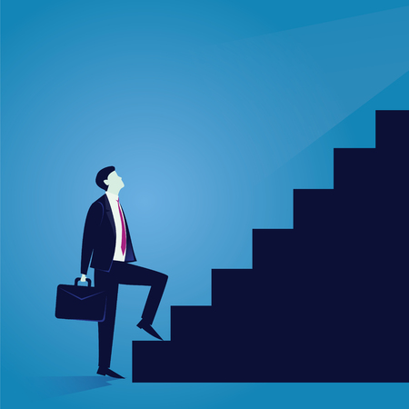 Vector illustration. Business journey concept. Future success. first step. Businessman start climbing stair for success, career, work, job, achievement, development, growth, progress, vision, future