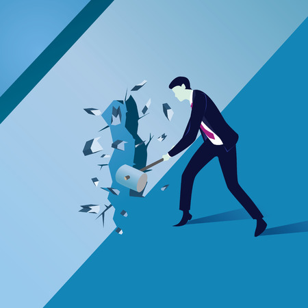 Vector illustration. Business power concept. Businessman breaking wall of obstacle with hammer on his hands. Conquering challenge.