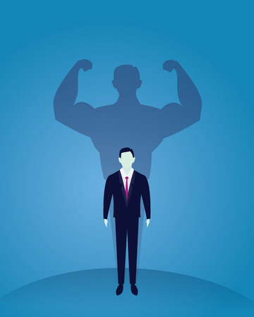 Vector illustration. Business power concept. Businessman standing in front of his own muscular shadow showing his inner strength. Self confidence. Future goal. Self development
